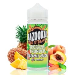 Bazooka Sour Straws Tropical Thunder Pineapple Peach 100ml