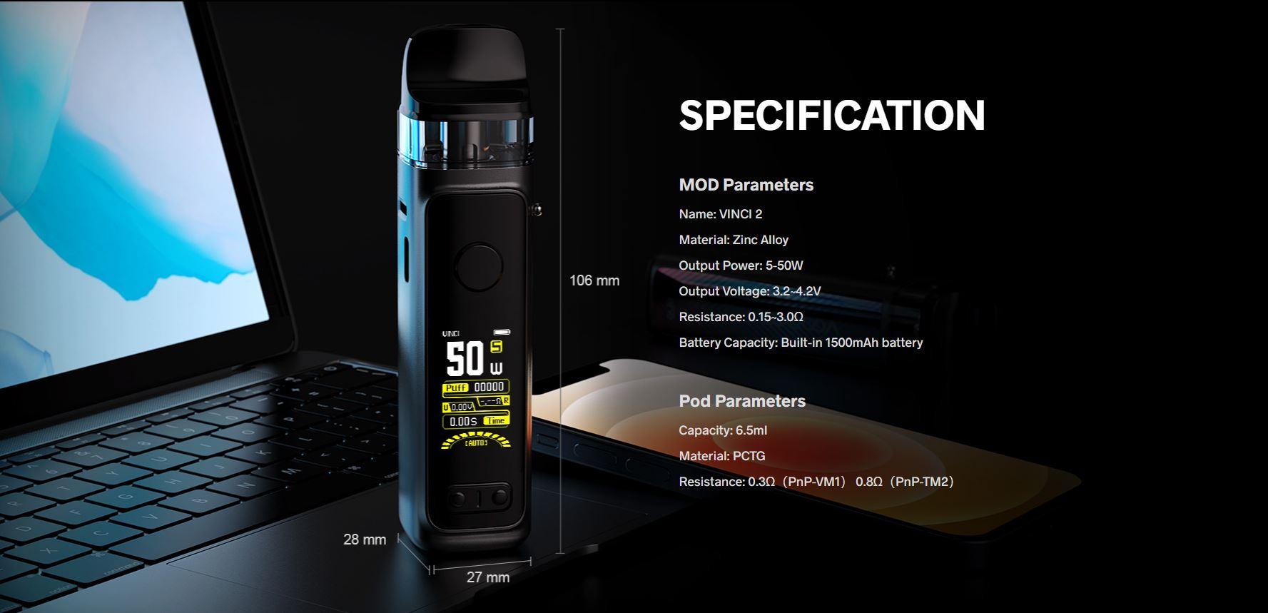 Voopoo Vinci 2 Kit Especificaciones